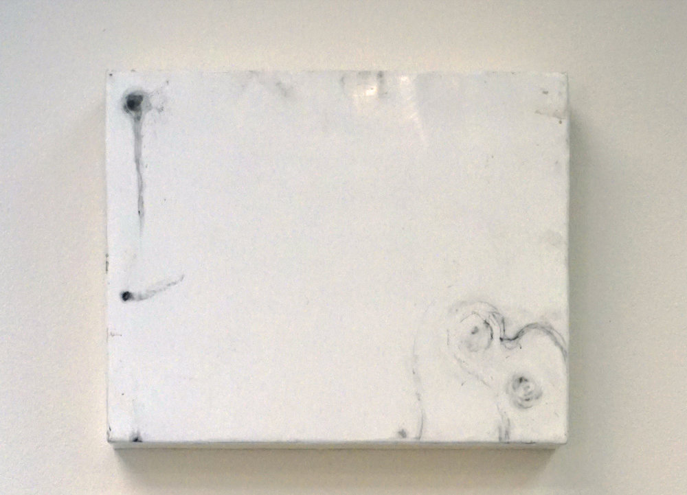 14. Marisa Tindall, The point at which something begins 1 , 2016, wax and ground marri charcoal on ply, $245
