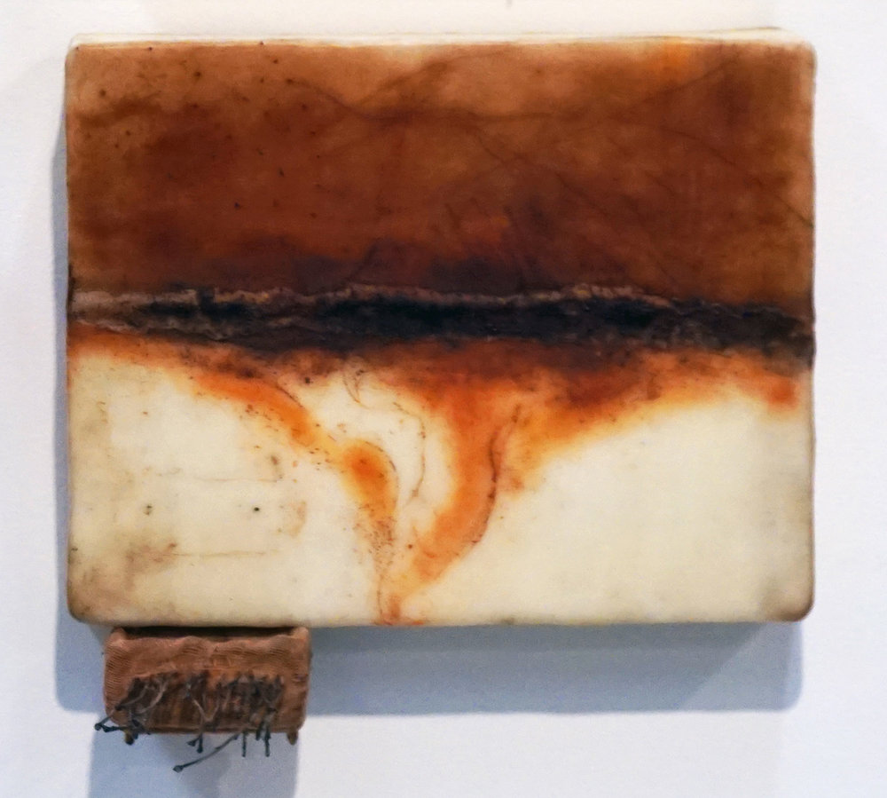 21. Marisa Tindall, Brought forth into being 4 , 2017, wax, ground marri charcoal, resin,  wood, cotton and gauze on ply, $245
