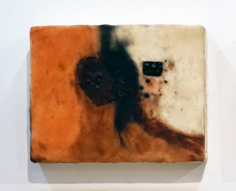 18. Marisa Tindall,  Brought forth into being 1 , 2017, wax, ground marri charcoal, resin,     wood, cotton and gauze on ply, $245