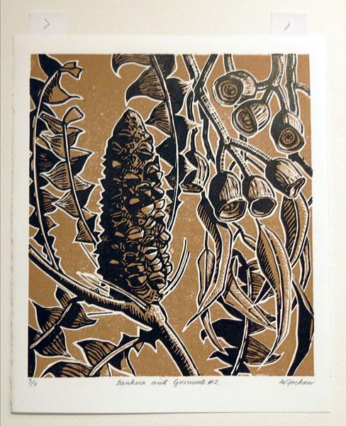 7. Banksia and Gumnuts 2, Willemina Foeken, 2016, Two-colour reduction lino print, 3 of 7, $430