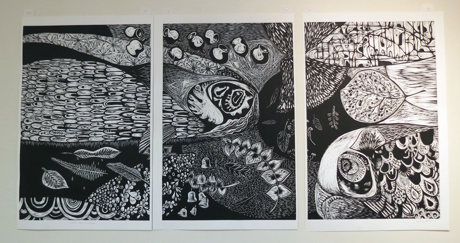 8. Under the Surface, Nicola Cowie, 2017, Triptych woodcut, 1 of 3, $1,075