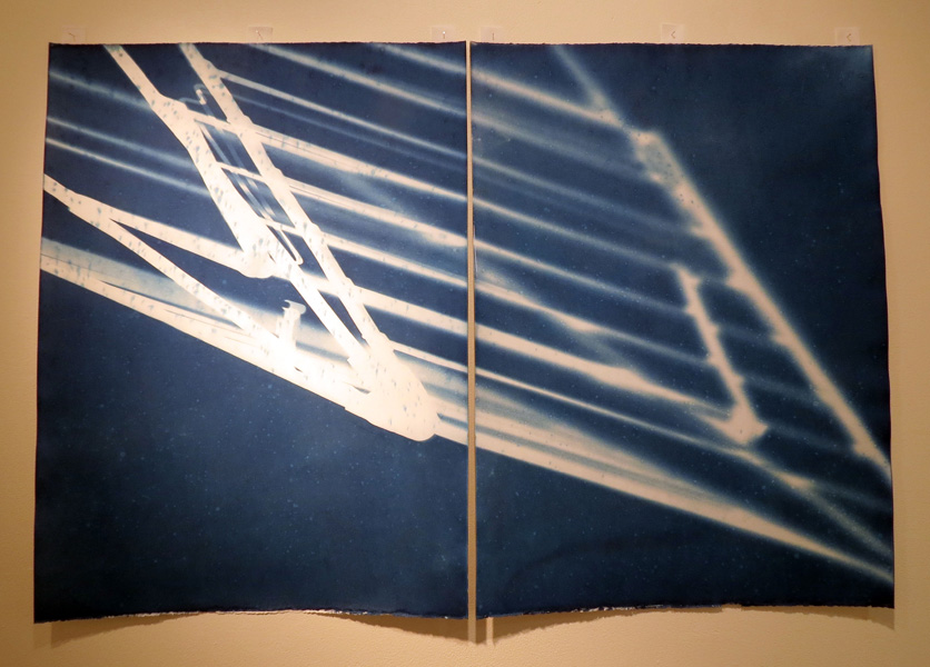 10. In search of lost time May 31, 2017, 12.48-12.57pm, Monique Bosshard Curby, 2017, Diptych cyanotype on Magnani paper, 1 of 1, $380