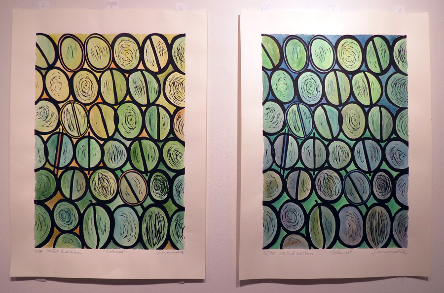 12. & 13. Balance, Guundie Kuchling, 2016, Hand-coloured lino print, 2 of 10 & 3 of 10, $290 each