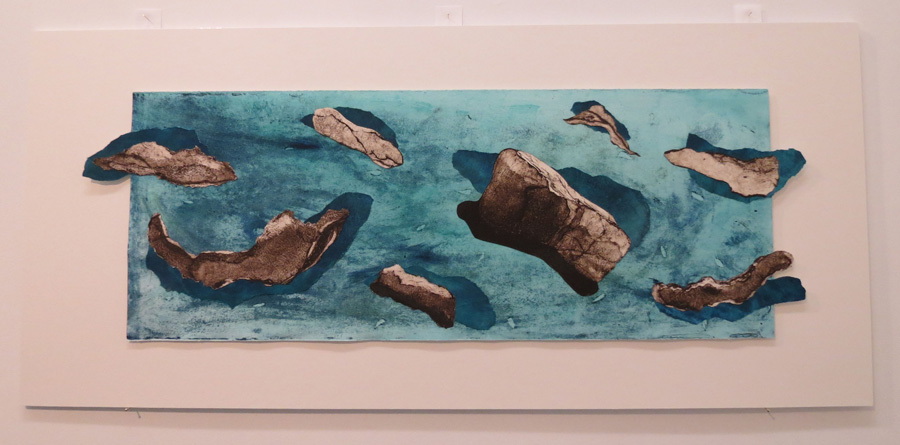 31. Fragments in the Current, Annette Davis, 2017, Collaged collograph and monoprint on monoprint background, 1 of 1, $520