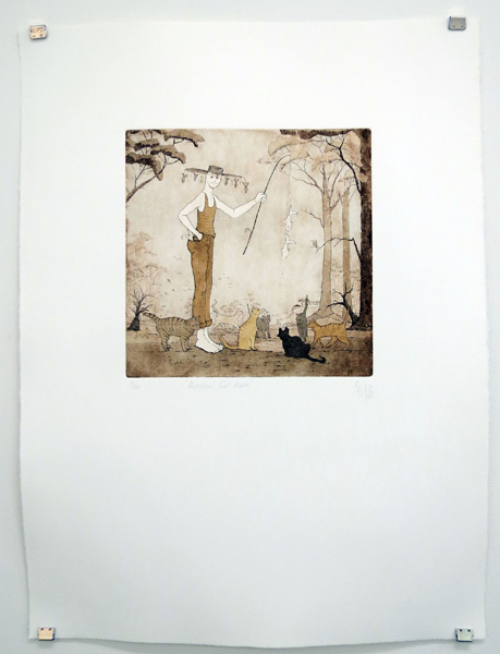 33. Australian Cat Herder, Elmari Steyn, Copper plate hardground line etch, aquatint and hand-colouring, 3 of 60, $400