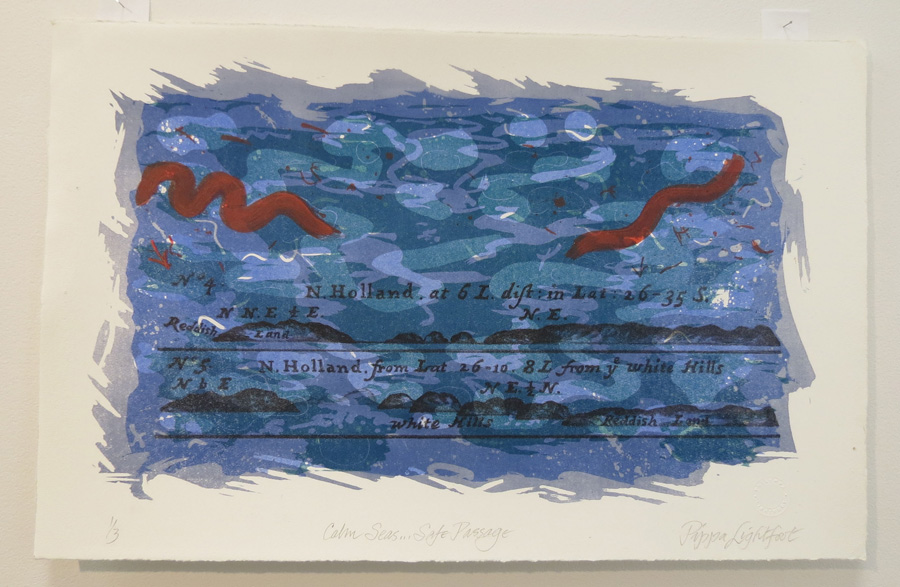 40. Calm Seas... Safe Passage, Pippa Lightfoot, 2017, Colour lithograph printed in 4 runs from 2 stones on Hahnemuhle rag paper, 1 of 3, $300
