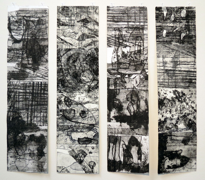 39. Near Willa Wyalong Creek 1, Dallas Perry, 2016, Four-panel collograph print on Tiepolo paper, 1 of 1, $400