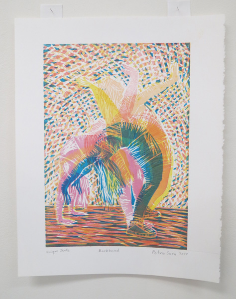 42. Backbend, Petra Saravanamuthu, 2017, Six-colour woodblock print on Stonehenge paper, 1 of 1, $100