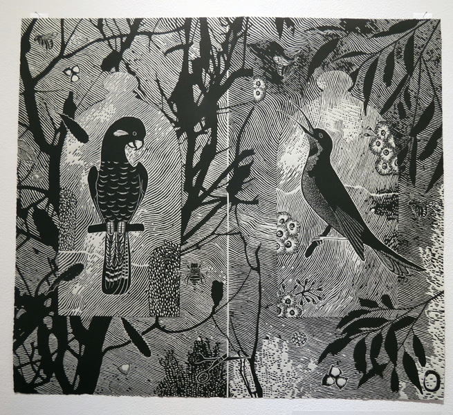 2. In the Service of Trees Bird Pollinators, Jenny Kitchener, Linocut, AP, Image size 51 x 58cm paper size 51 x 58cm, edition available from PCA