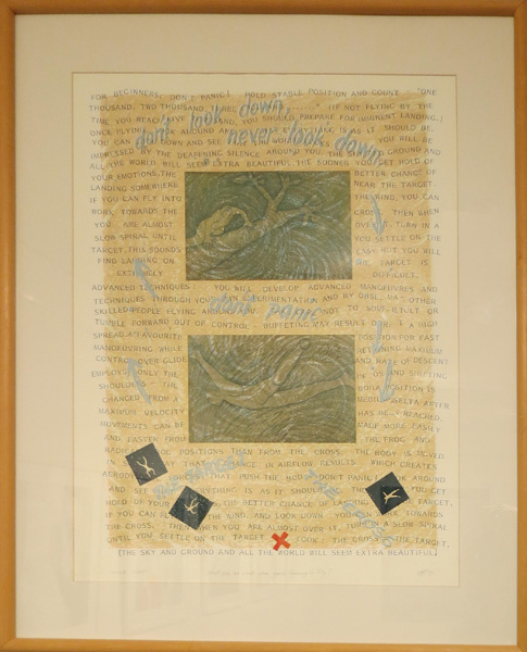 32. Peggy Lyon, 'What use are words when you are learning to fly', Mixed media, chine collé, unique state, 1989, 84 x 67.5 cm, On loan from the Lyon Estate