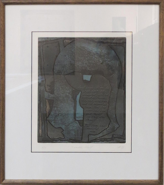 37. Peggy Lyon, 'Discarded Helmet', Collagraph, hand writing, 1989, 56 x 38 cm, On loan from the Lyon Estate