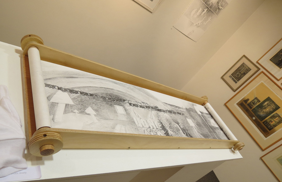 38. Peggy Lyon, 'It is said the vegetation here was…' (detail), Charcoal, graphite on paper, plywood, scroll machine created by Denise Brown, c.2005, 45 x 122 cm, $1,200