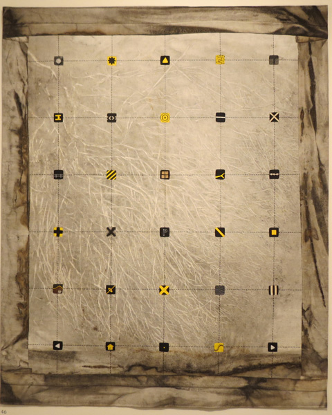 46. Peggy Lyon, 'Contested Ground', Fabric dyed, stitch, mixed media, 2015, 132 x 110 cm, On loan from the Lyon Estate