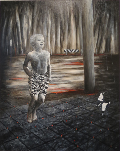 62. Peggy Lyon, 'Boy', Gesso, acrylic on canvas, 2013, 152 x 120 cm, On loan from the Shire of Mundaring