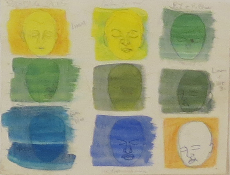 69. Peggy Lyon, 'Sleeping Faces', Watercolour on paper, 2007, 14 x 16 cm, On loan from a private Collection