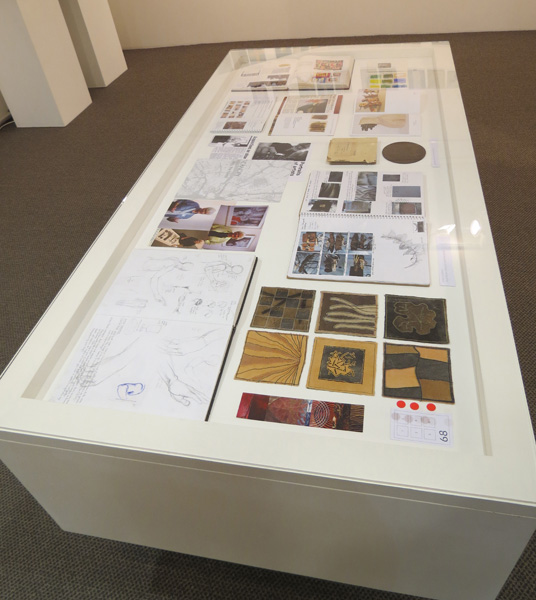 Peggy Lyon,  About Turn: A quiet, interrupted art life , North wall viewAbout Turn artists ephemera display case