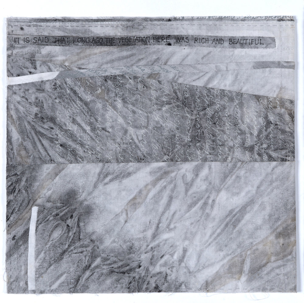 39. Peggy Lyon, 'Saltlands - Gully, Home Paddock, Hillside' (detail), Fabric, dyeing, stitch, 2001, 32 x 30 cm each, On loan from the Lyon Estate  Photographer Eva Fernandez