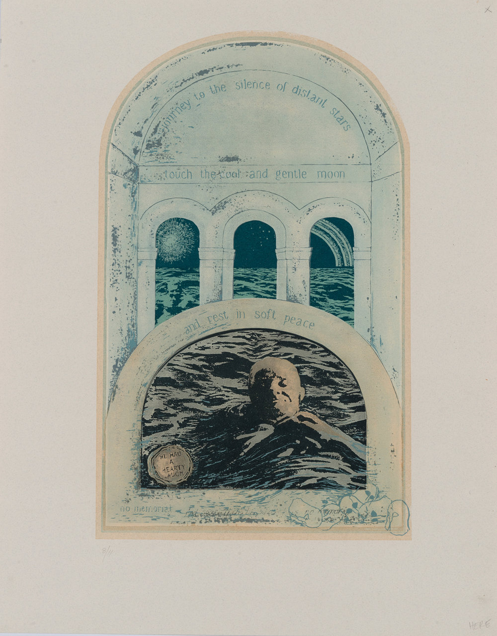 36. Peggy Lyon, 'Sanctuary for an Old Warrior', Lino cut, collagraph,1989, 77 x 53.5 cm, On loan from a private Collection  Photographer Eva Fernandez