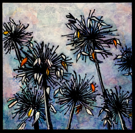 6. Karen Frankel, 'Dried Agapanthus', 2017, Mixed media on canvas, 61 x 61cm, $700