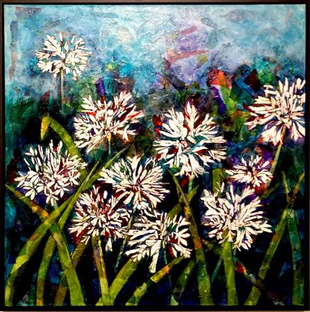 7. Karen Frankel, 'Agapanthus', 2017, Mixed media on canvas, 91 x 91cm, $1,500