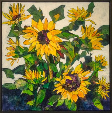 9. Karen Frankel, 'Sunflowers', 2017, Mixed media on canvas, 61 x 61cm, $700