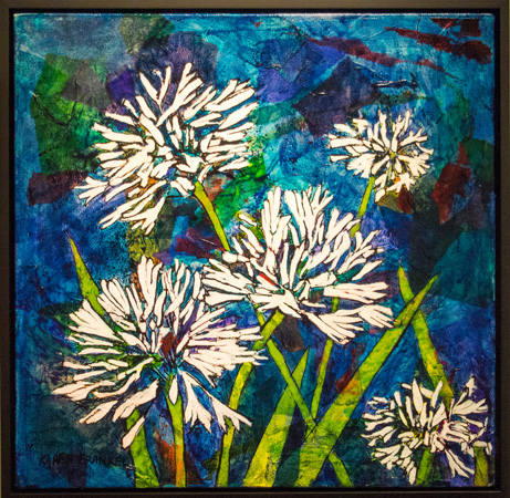 15. Karen Frankel, 'Small Agapanthus', 2017, Mixed media on canvas, 46 x 46cm, $500