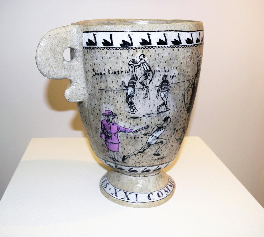 2. Alastair Taylor,  Mug,  2018, polyester resin, ink, acrylic, SOLD