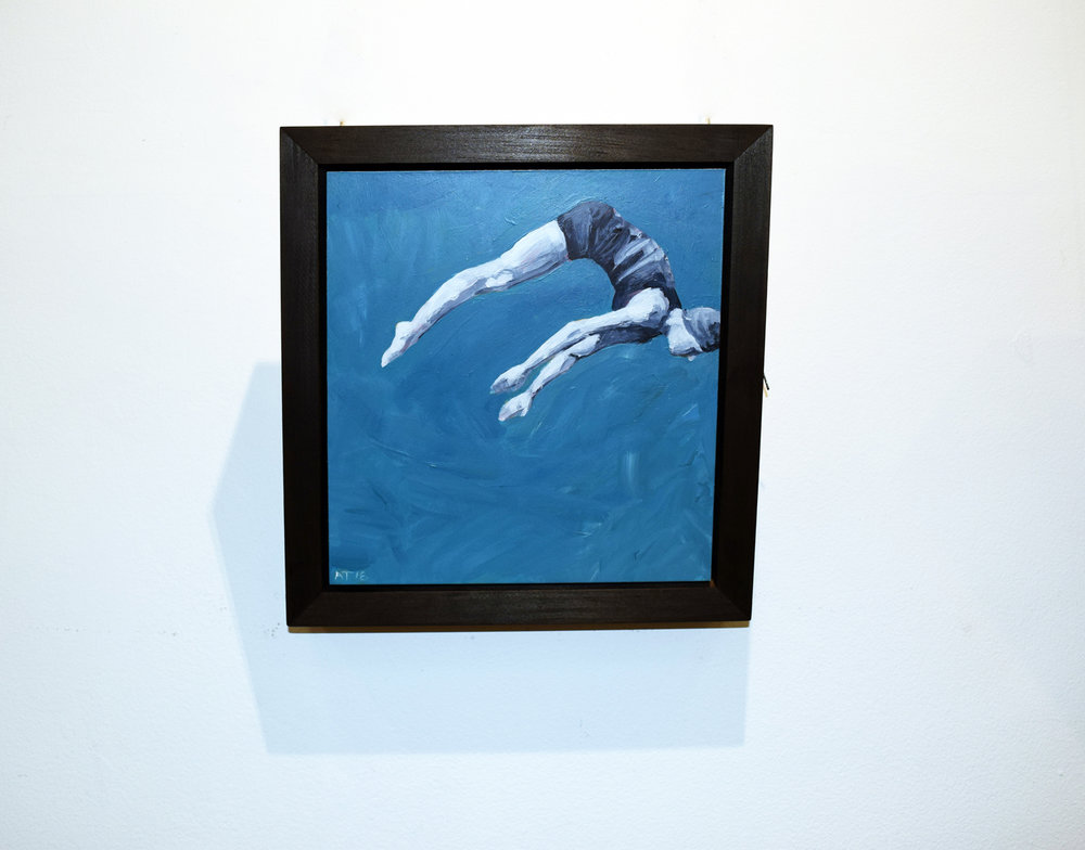 16. Alastair Taylor,  Dive,  2018, acrylic on board, $325
