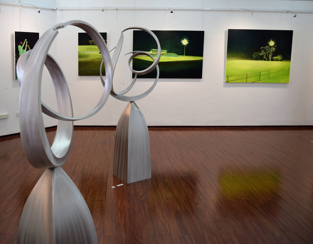 30. (L) Ron Gomboc,  Journey,  2018, aluminium, $15,000  31. (R) Ron Gomboc,  At the Beginning,  2018, aluminium, $18,000