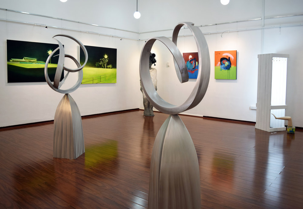 30. (L) Ron Gomboc,  At the Beginning,  2018, aluminium, $18,000 31. (R) Ron Gomboc,  Journey,  2018, aluminium, $15,000