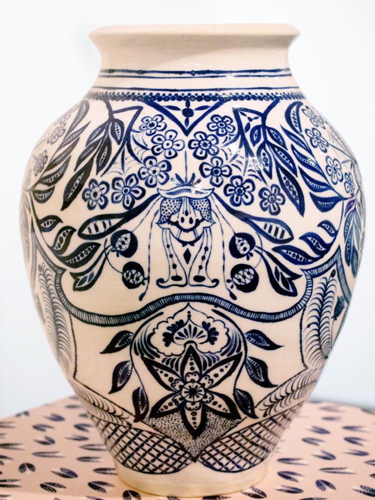 7. Yvonne Zago, 'Arnaud's floral vase', 2018, hand painted stoneware, 26 x 17 x 17 cm, NFS