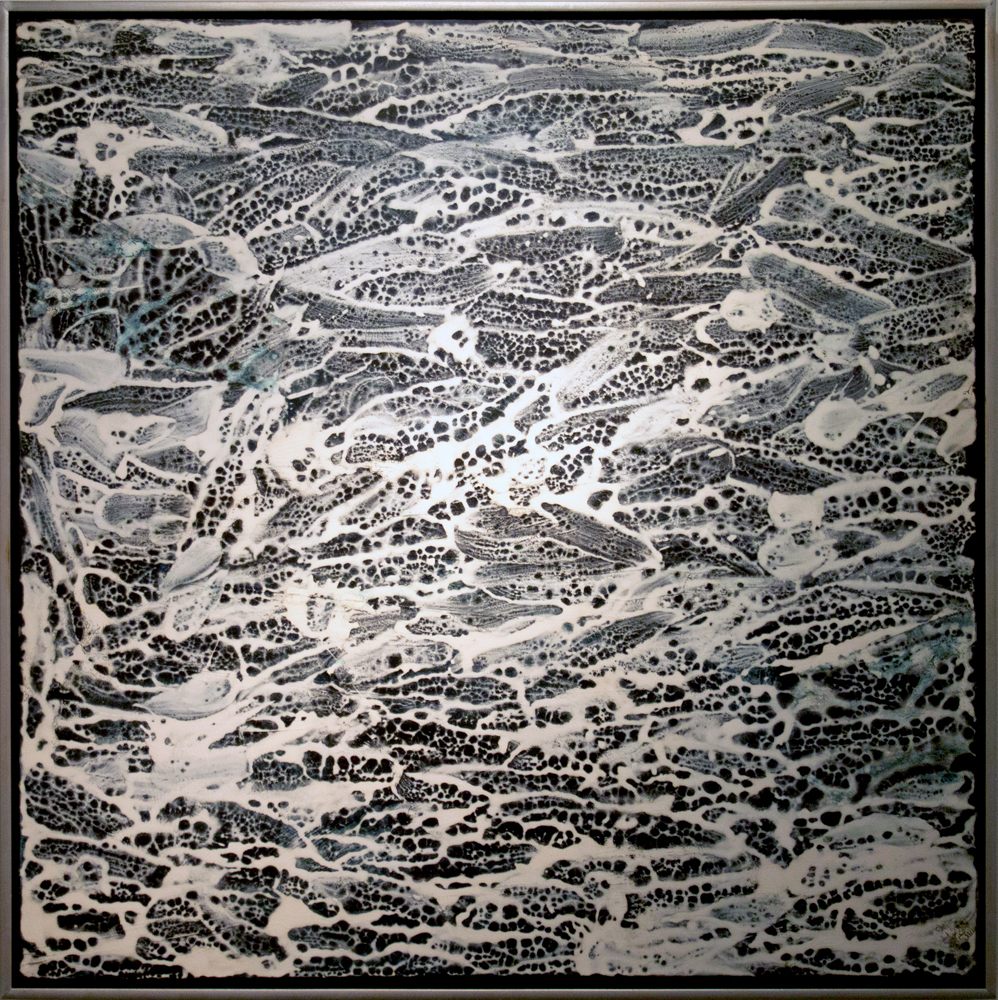 15. Bec Juniper, 'After Water Event', 2018, mixed media on linen, 105 x 105 cm, $5,800