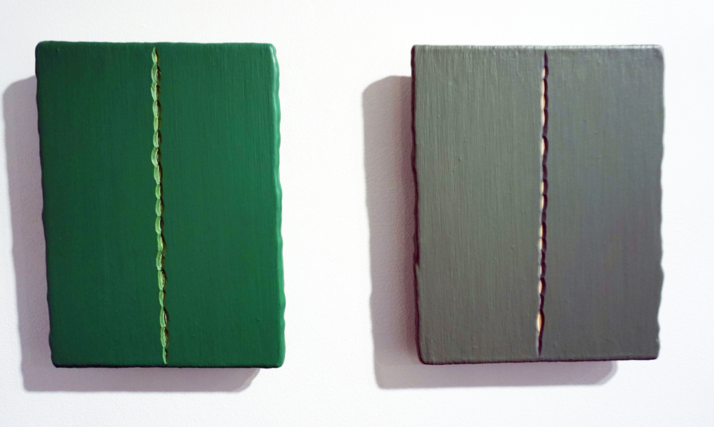 23. André Lipscombe, 'Green painting' (diptych), 2016, acrylic paint on wood, 28 x 55 x 4 cm (installed), $3,600