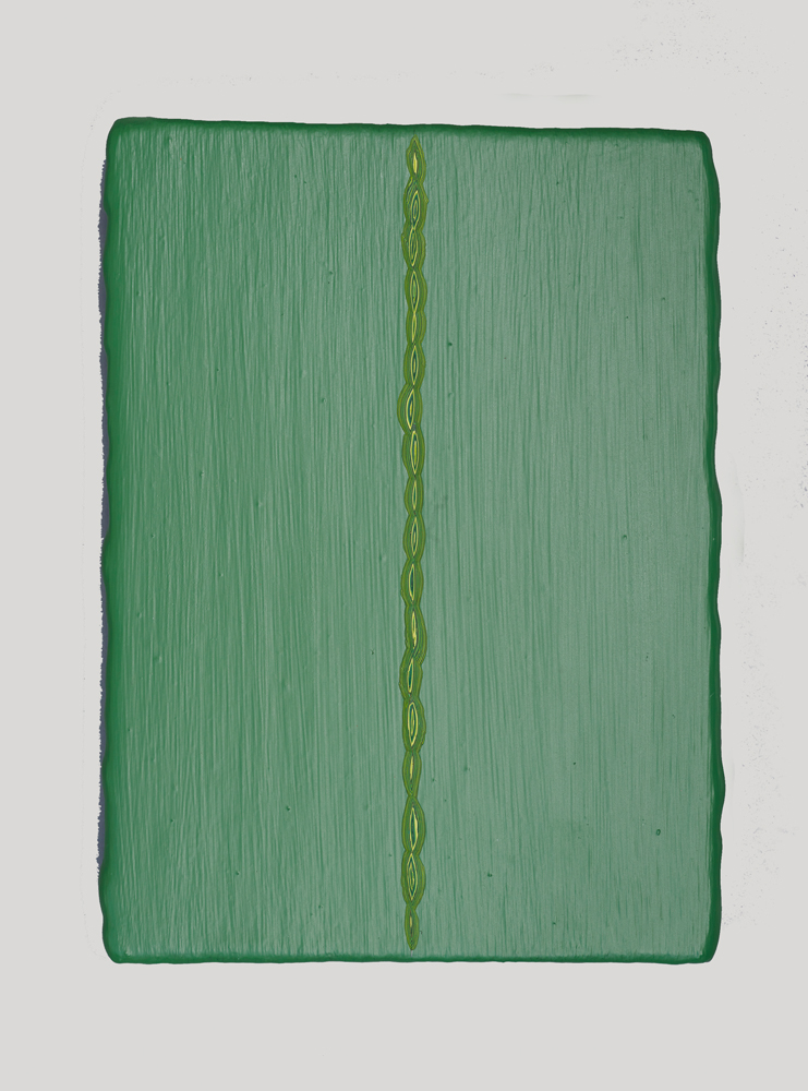 23. André Lipscombe, 'Green painting' (diptych) (left detail), 2016, acrylic paint on wood, 28 x 55 x 4 cm (installed), $3,600