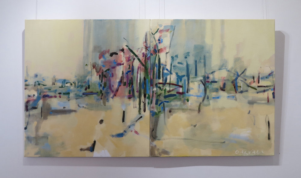 2. Jo Darvall, 'Like Water (diptych)', 2017, Oil on canvas, 82 x 164cm, $6,200
