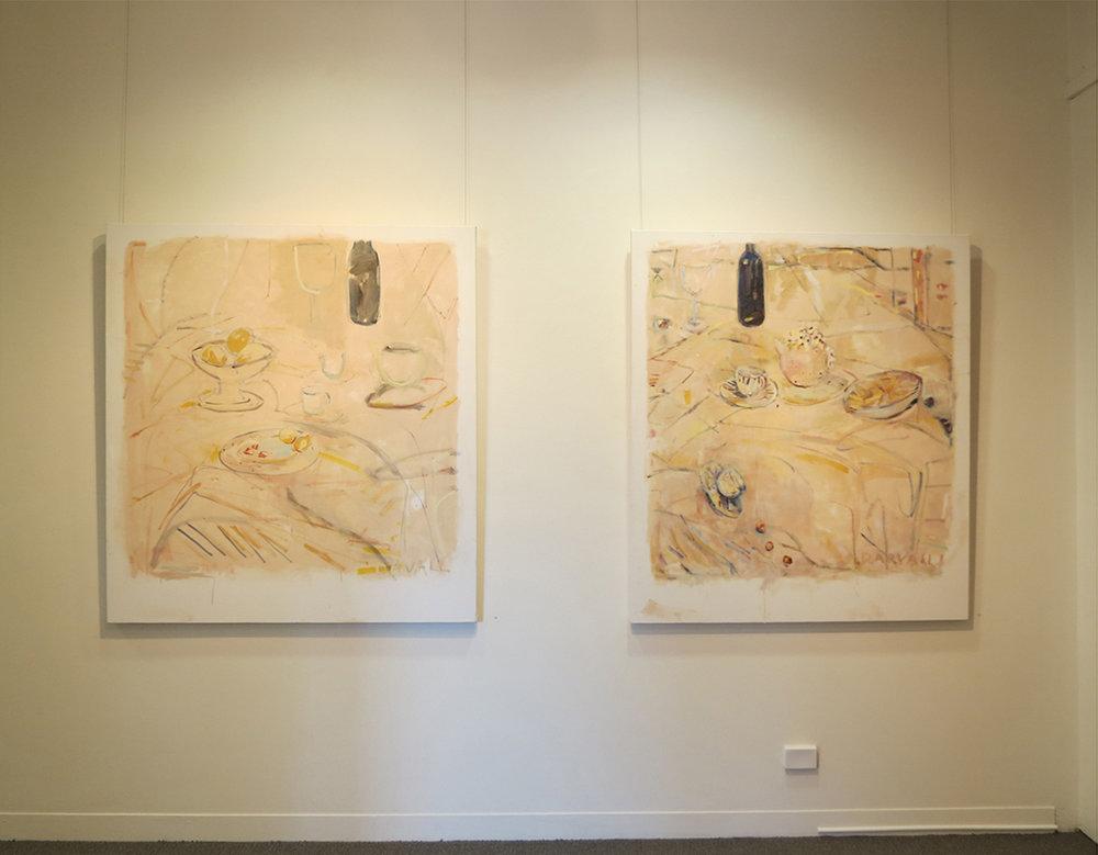 14. Jo Darvall, 'Still Life Floating #1', 2018, Oil on canvas, 137 x 126cm, $7,800  13. Jo Darvall, 'Still Life Floating #2', 2018, Oil on canvas, 137 x 126cm, $7,800