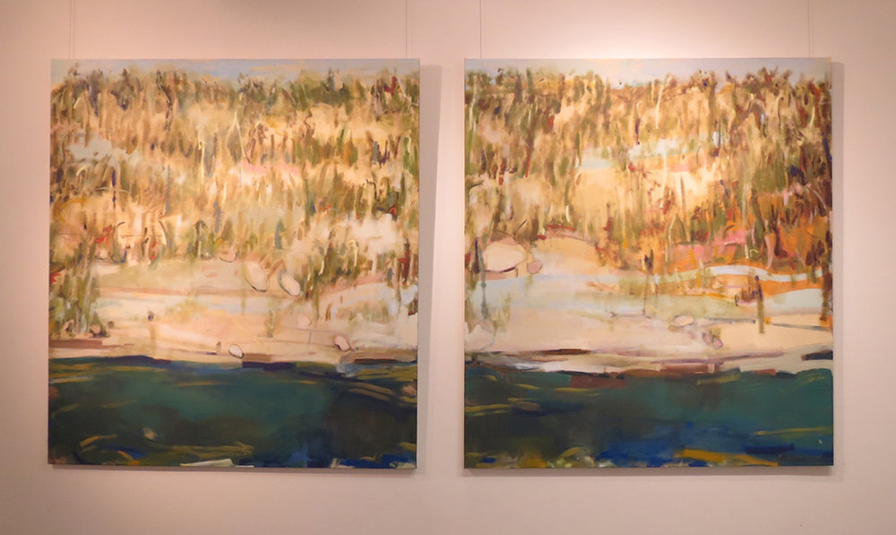 7. Jo Darvall, 'Mundaring (diptych)', 2018, Oil on canvas, 168 x 325cm, $18,000 or $10,000ea