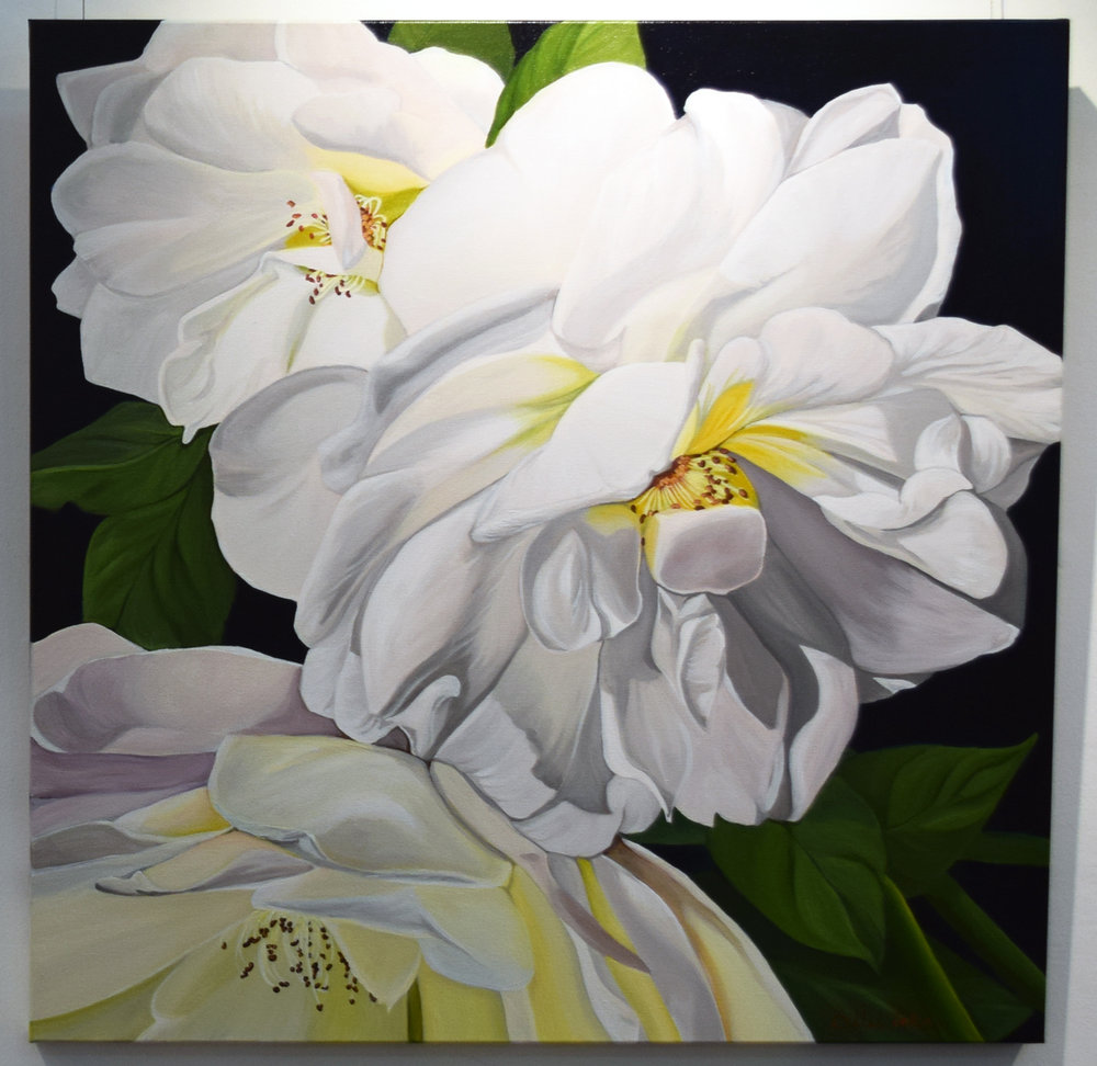 13. Billie Peka, White Roses Flourish, 2018, acrylic on canvas, 76 x 76 cm, $555