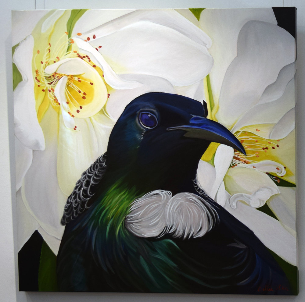 14. Billie Peka, Tui - Messenger, 2018, acrylic on canvas, 76 x 76 cm, $555