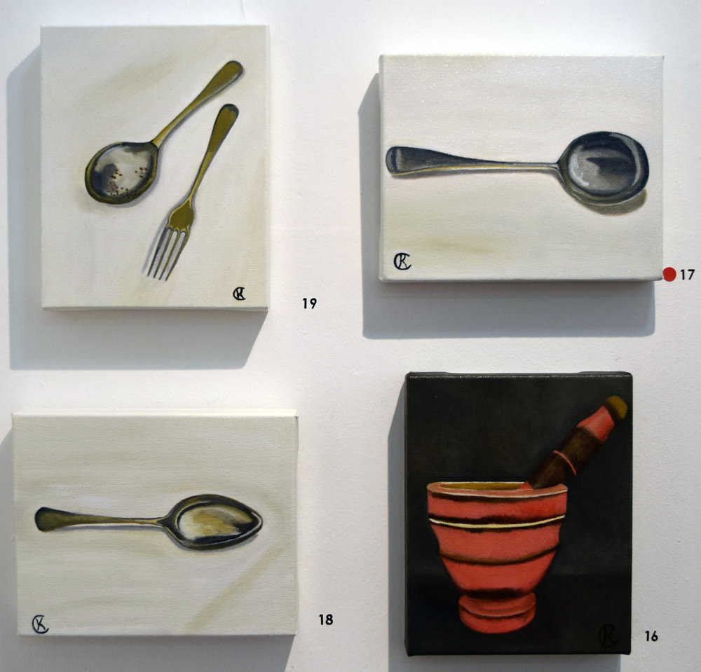 16. - 19. Kimberley Cardow, Vintage Mortar and Pestle, Vintage Soup Spoon, Vintage Spoon, Vintage Spoon & Fork, 2018, acrylic on canvas, each 20 x 26 cm, $135 each