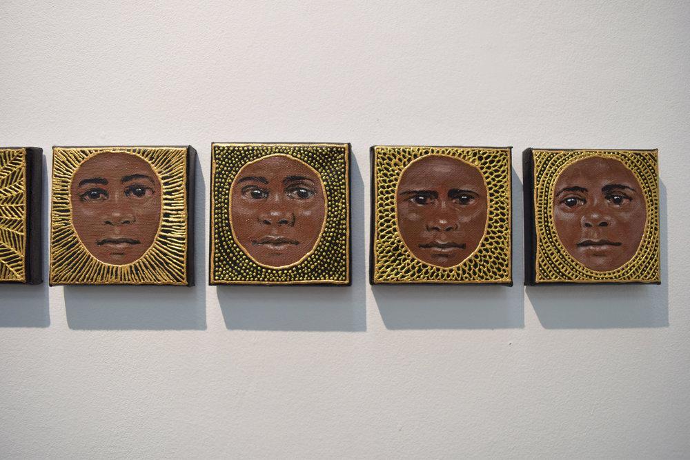 1. Julie Dowling, Wiru Series 17-20, 2018, acrylic, mica gold on canvas, 10.5 x 10.5 cm each, $500 each