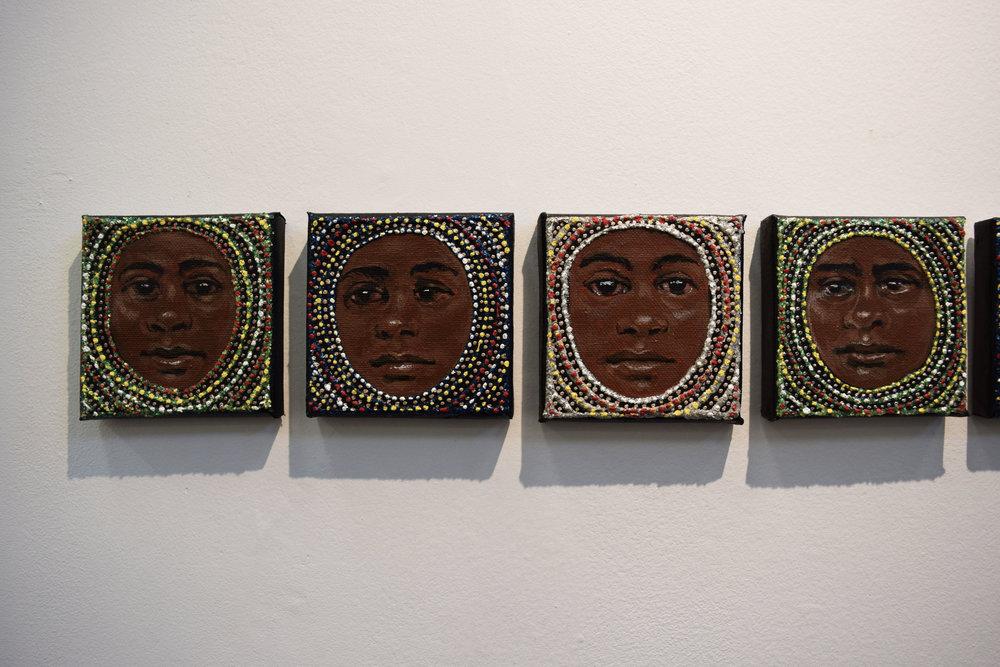 1. Julie Dowling, Wiru Series 1-4, 2018, acrylic, mica gold on canvas, 10.5 x 10.5 cm each, $500 each