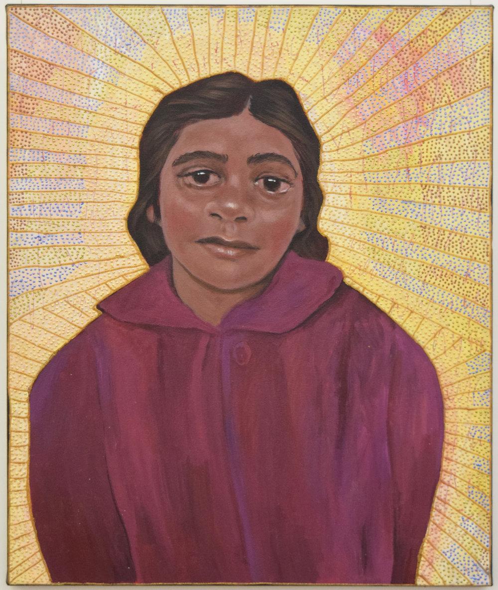 8. Julie Dowling, Dyudi (Scar), 2018, acrylic, mica gold & plastic on, canvas, 50 x 60 cm, $4,500