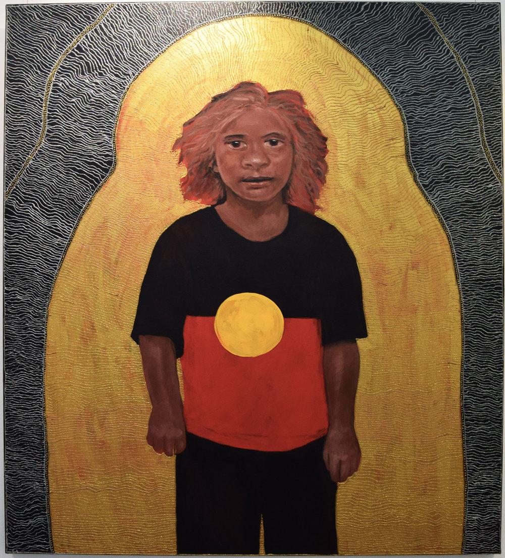 13. Julie Dowling, Milgu (Sharp) Trophy, 2018, acrylic, mica gold & plastic on, canvas, 106 x 121.5 cm, $30,000
