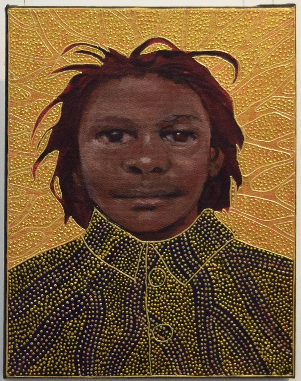 16. Julie Dowling, Gula-Gula (Very Close), 2018, acrylic, mica gold on canvas, 30 x 40 cm, $2,000