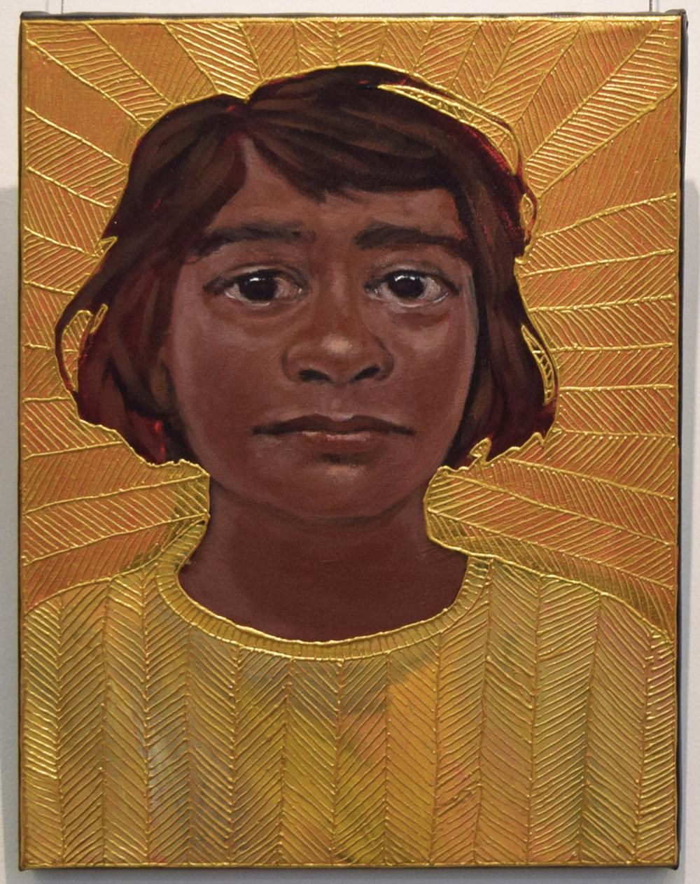 19. Julie Dowling, Marugundi (Tomorrow), 2018, acrylic, mica gold on canvas, 30 x 40 cm, $2,000