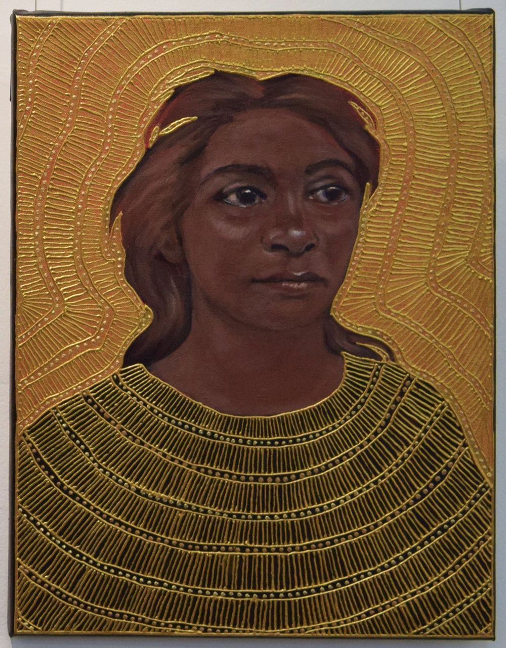 22. Julie Dowling, Murni (Woman), 2018, acrylic, mica gold on canvas, 30 x 40 cm, $2,000