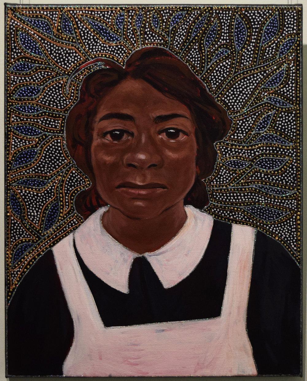 40. Julie Dowling, Mirnunda (Teaching), 2018, acrylic, mica gold & plastic on, canvas, 90 x 120 cm, $2,500