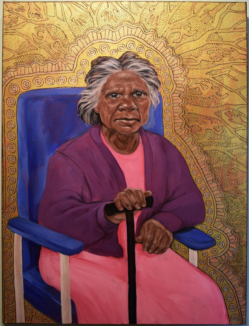 29. Julie Dowling, Bidagubaya (Becoming Quiet), 2018, acrylic, mica gold & plastic on, canvas, 90 x 120 cm, $20,000