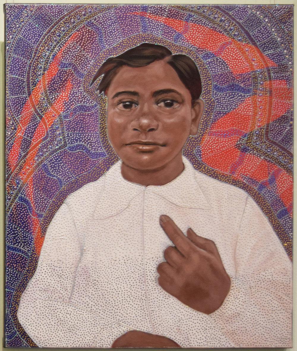 32. Julie Dowling, Nhundu (You), 2018, acrylic, mica gold & plastic on, canvas, 50 x 60 cm, $4,500